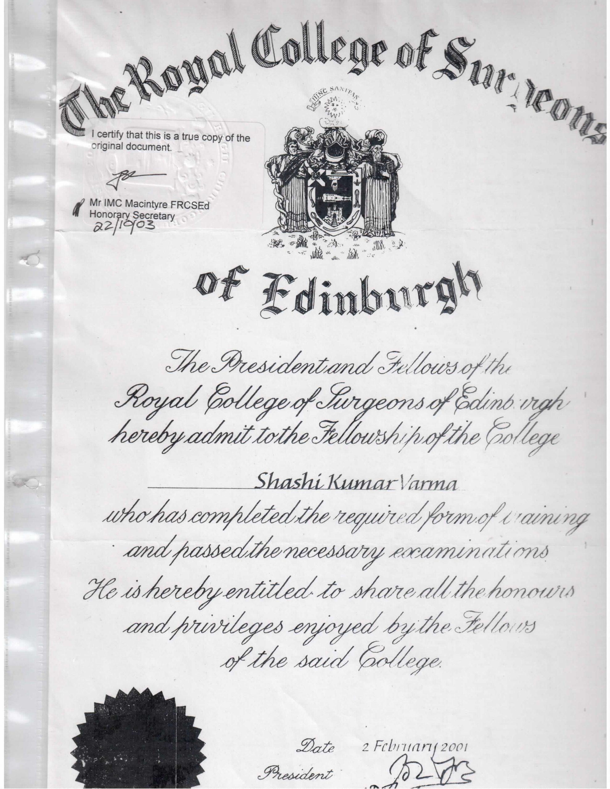 SK Varma (FRCS Certificate)